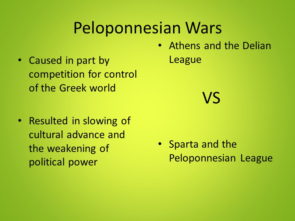 Peloponnesian Wars VS Athens and the Delian League