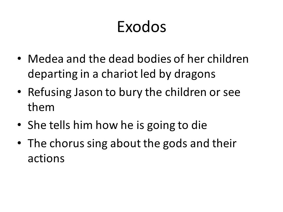 Exodos Medea and the dead bodies of her children departing in a chariot led by dragons. Refusing Jason to bury the children or see them.