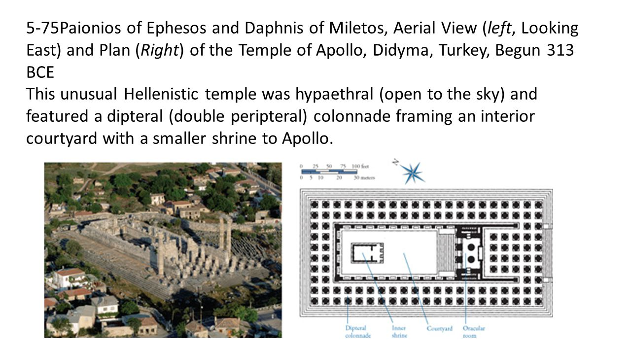 5-75Paionios of Ephesos and Daphnis of Miletos, Aerial View (left, Looking East) and Plan (Right) of the Temple of Apollo, Didyma, Turkey, Begun 313 BCE