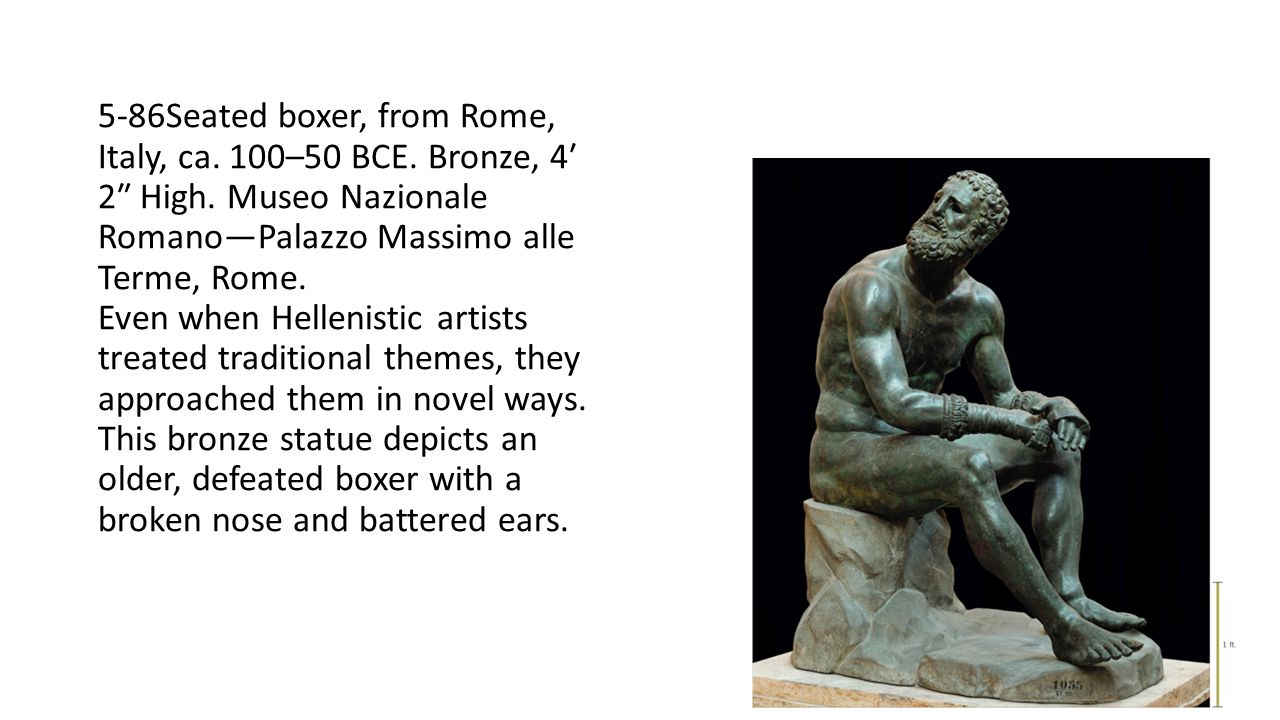 5-86Seated boxer, from Rome, Italy, ca. 100–50 BCE. Bronze, 4′ 2″ High