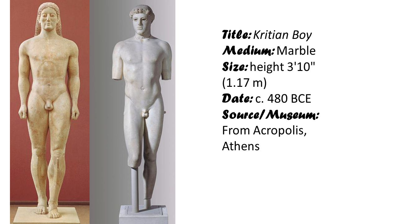 Title: Kritian Boy Medium: Marble. Size: height 3 10 (1.17 m) Date: c.