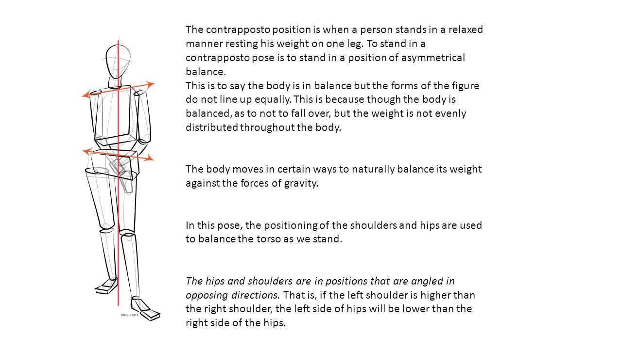 The contrapposto position is when a person stands in a relaxed manner resting his weight on one leg. To stand in a contrapposto pose is to stand in a position of asymmetrical balance.