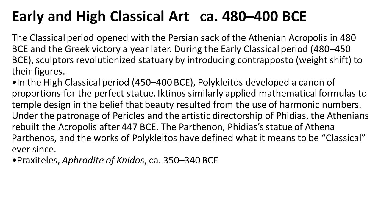 Early and High Classical Art ca. 480–400 BCE