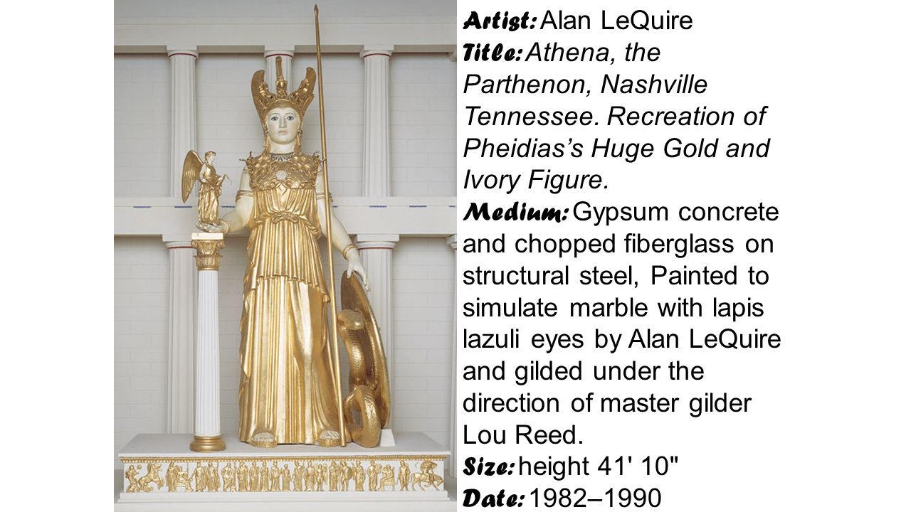 Artist: Alan LeQuire Title: Athena, the Parthenon, Nashville Tennessee. Recreation of Pheidias's Huge Gold and Ivory Figure.