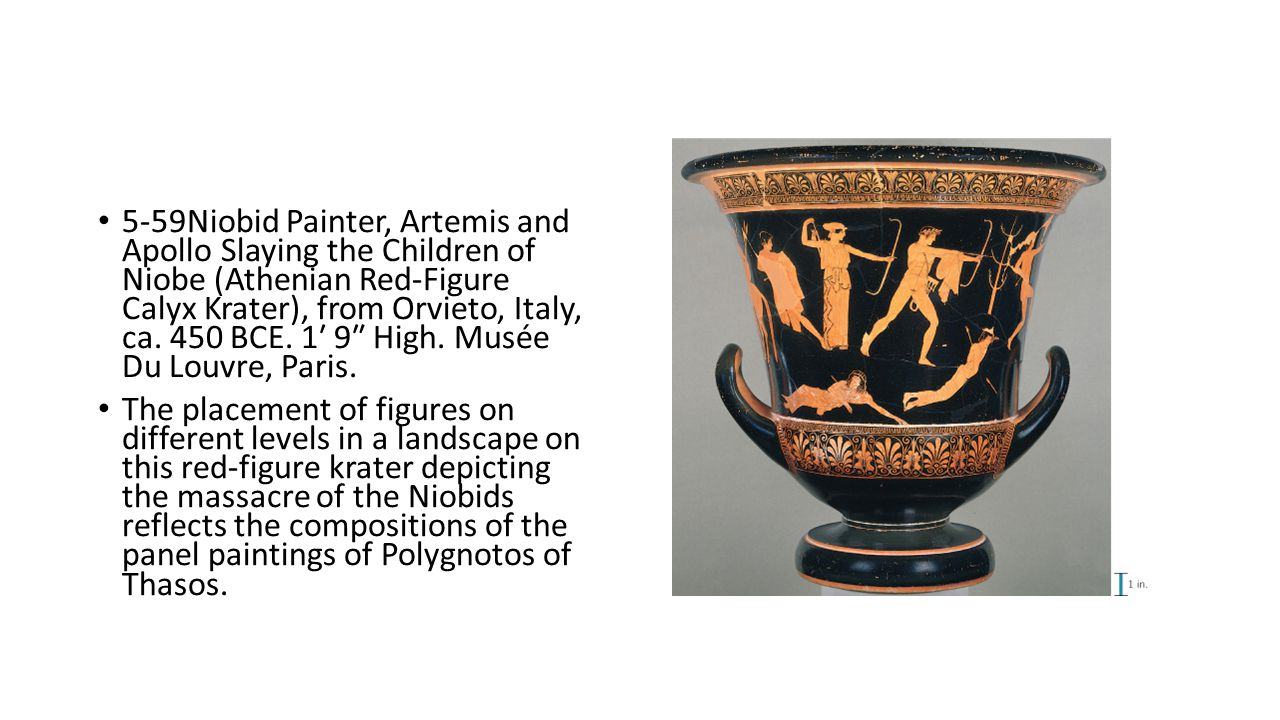 5-59Niobid Painter, Artemis and Apollo Slaying the Children of Niobe (Athenian Red-Figure Calyx Krater), from Orvieto, Italy, ca. 450 BCE. 1′ 9″ High. Musée Du Louvre, Paris.