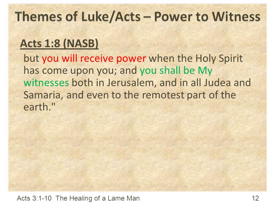 Themes of Luke/Acts – Power to Witness