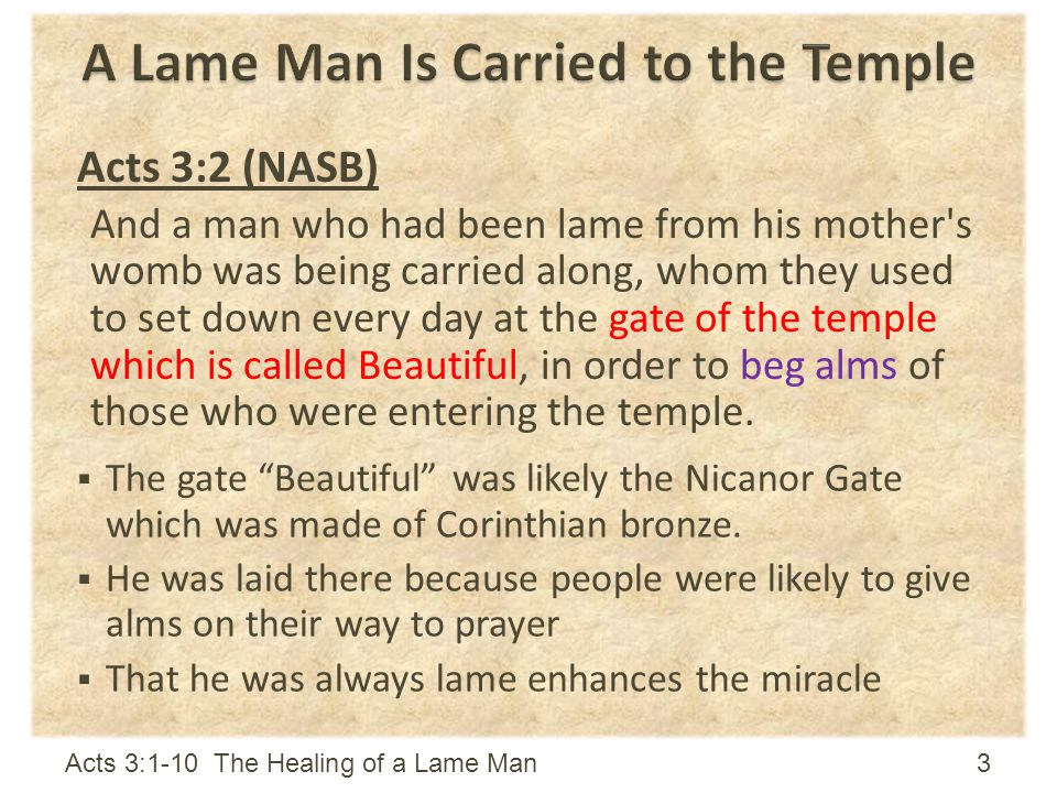 A Lame Man Is Carried to the Temple