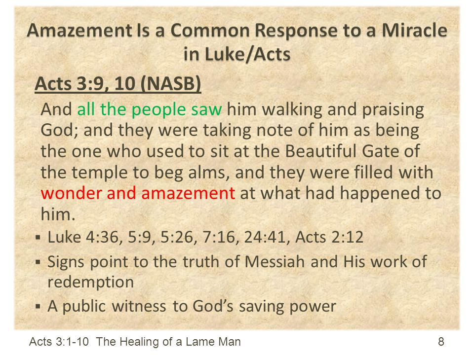 Amazement Is a Common Response to a Miracle in Luke/Acts