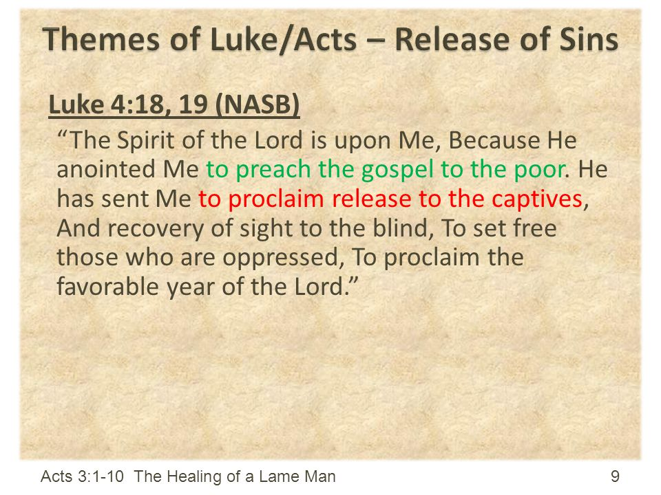 Themes of Luke/Acts – Release of Sins