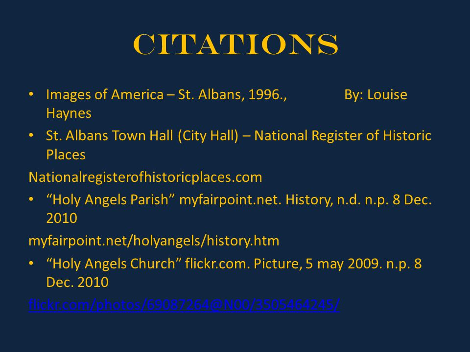 Citations Images of America – St. Albans, 1996., By: Louise Haynes