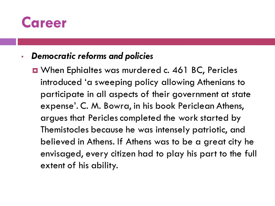 Career Democratic reforms and policies