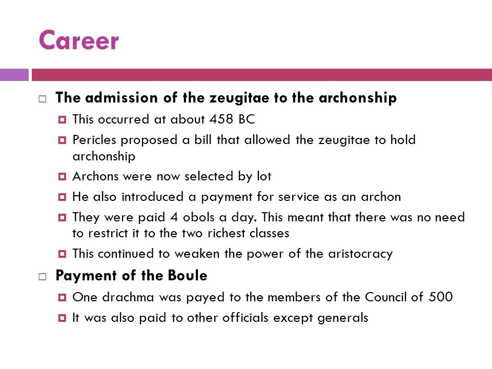 Career The admission of the zeugitae to the archonship
