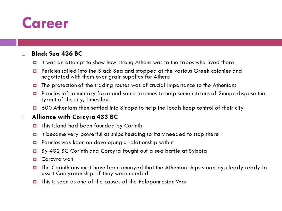 Career Black Sea 436 BC Alliance with Corcyra 433 BC