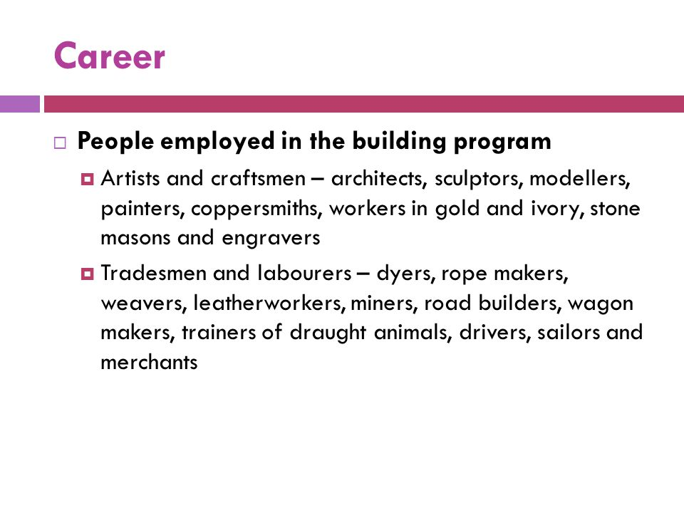 Career People employed in the building program