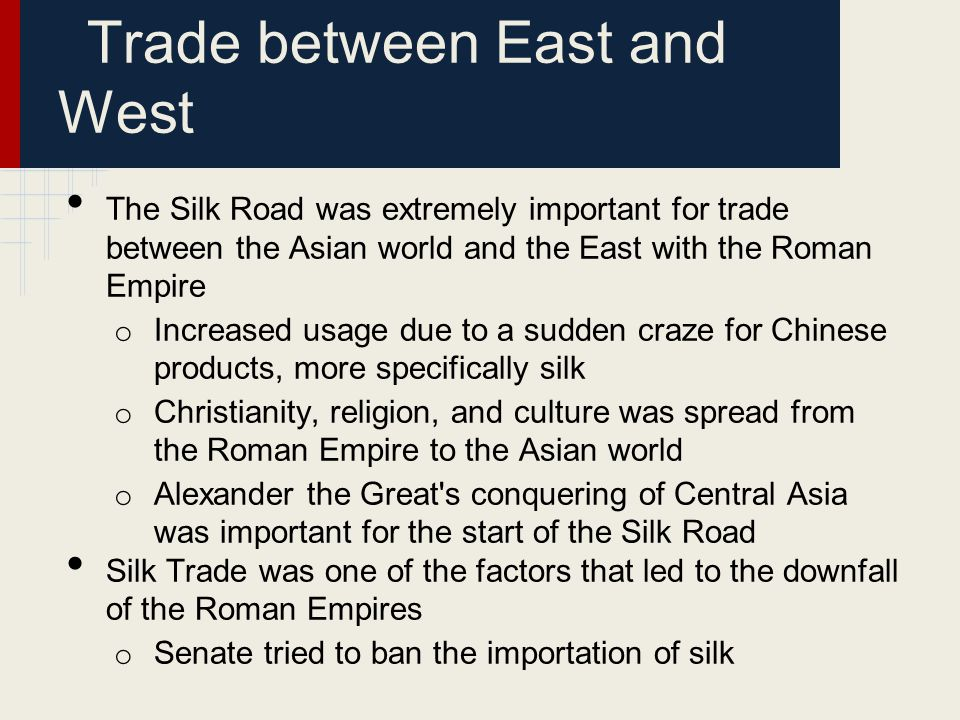 Trade between East and West