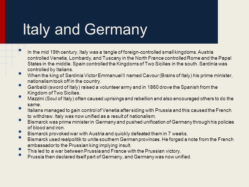 Italy and Germany