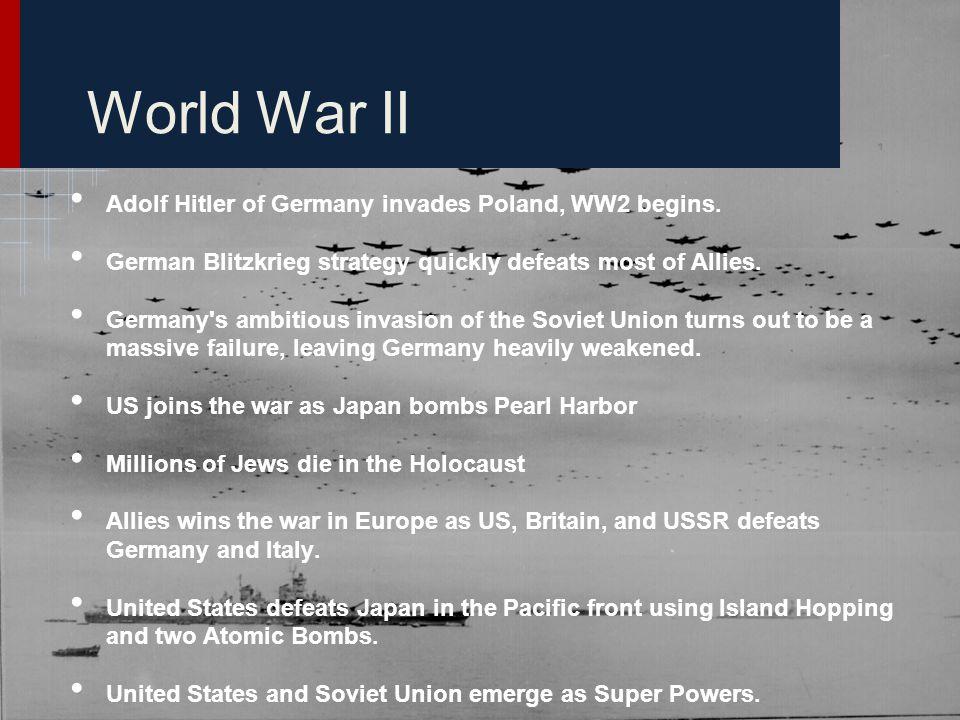 World War II Adolf Hitler of Germany invades Poland, WW2 begins.