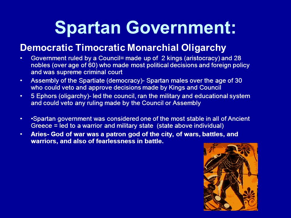 Spartan Government: Democratic Timocratic Monarchial Oligarchy