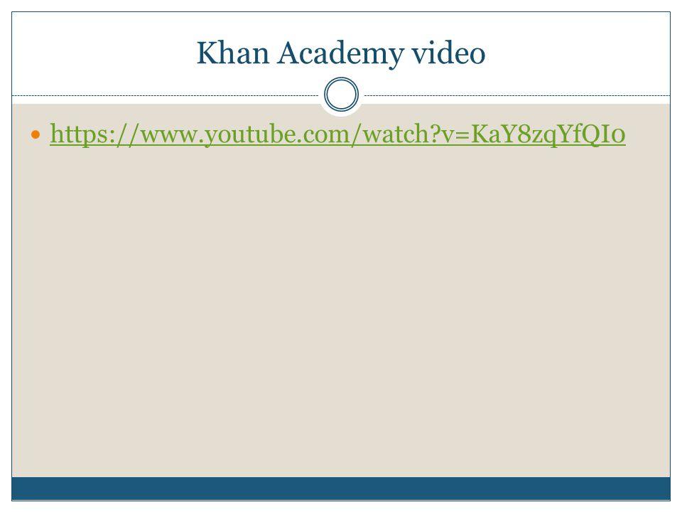 Khan Academy video https://www.youtube.com/watch v=KaY8zqYfQI0