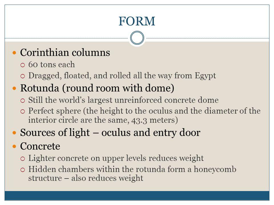 FORM Corinthian columns Rotunda (round room with dome)