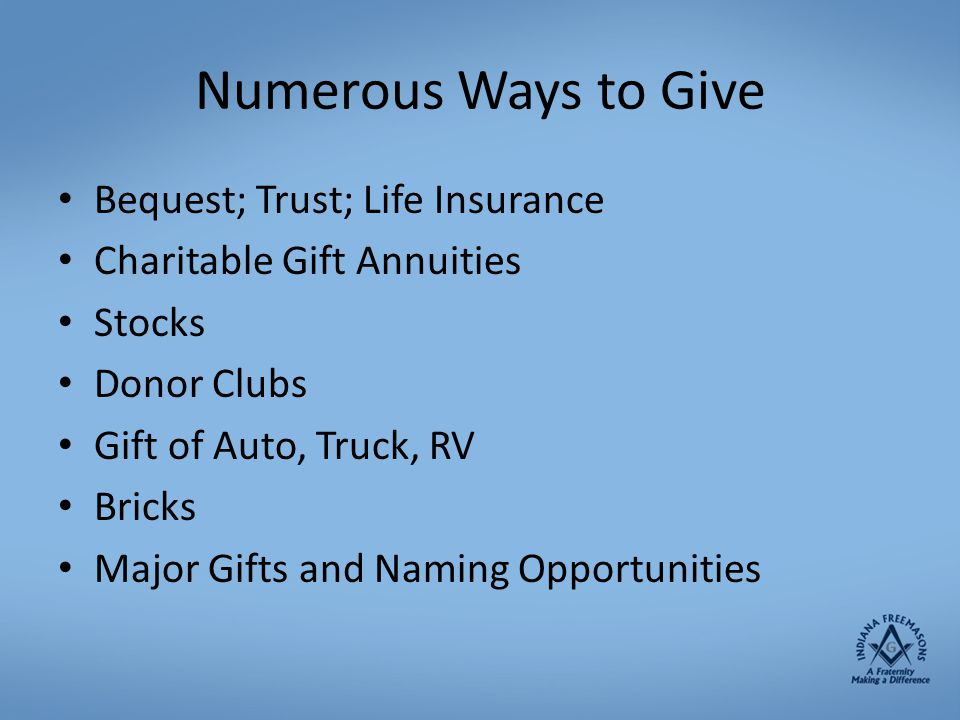 Numerous Ways to Give Bequest; Trust; Life Insurance