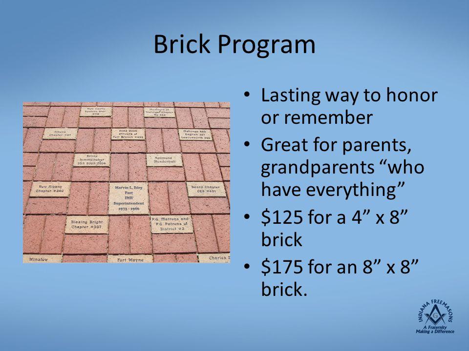 Brick Program Lasting way to honor or remember