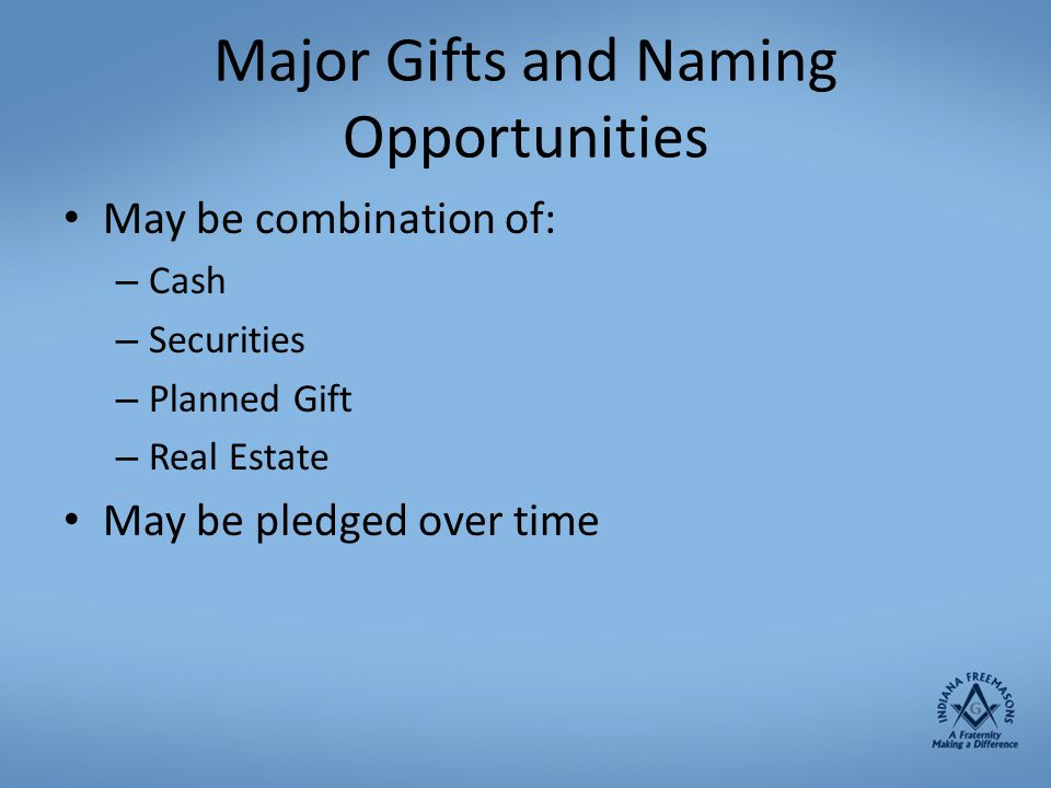 Major Gifts and Naming Opportunities