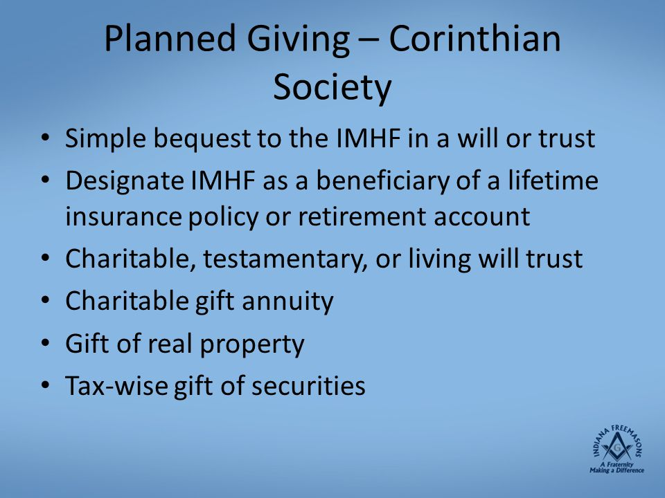 Planned Giving – Corinthian Society