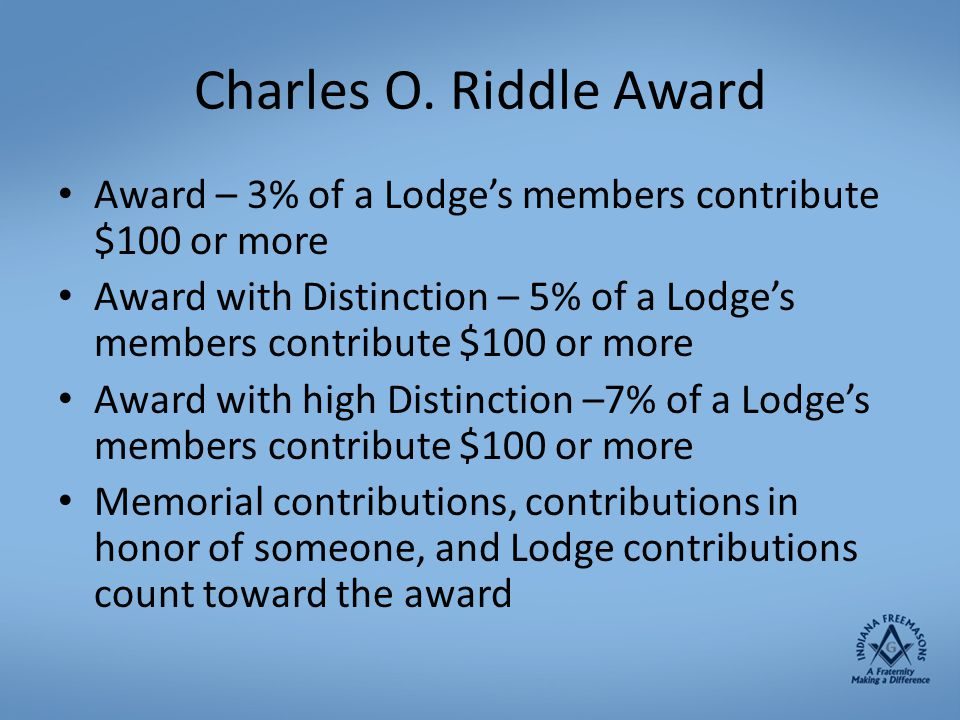Charles O. Riddle Award Award – 3% of a Lodge's members contribute $100 or more.
