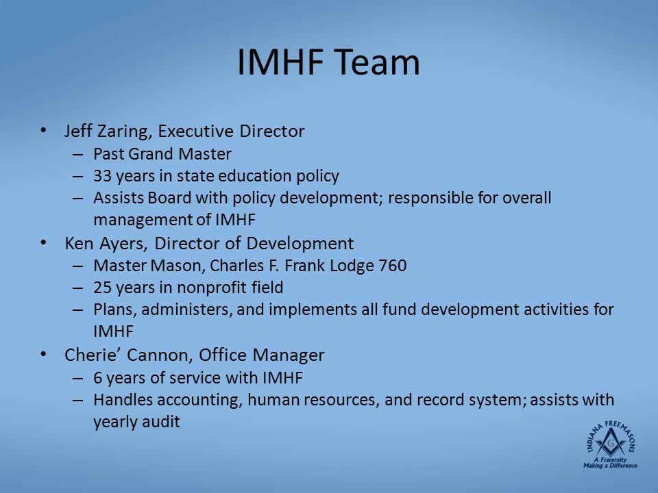 IMHF Team Jeff Zaring, Executive Director