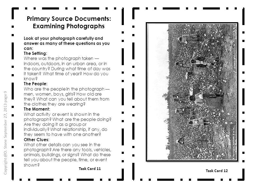 Primary Source Documents: Examining Photographs