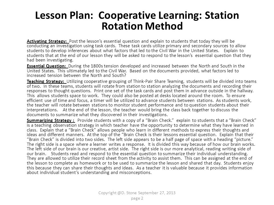 Lesson Plan: Cooperative Learning: Station Rotation Method