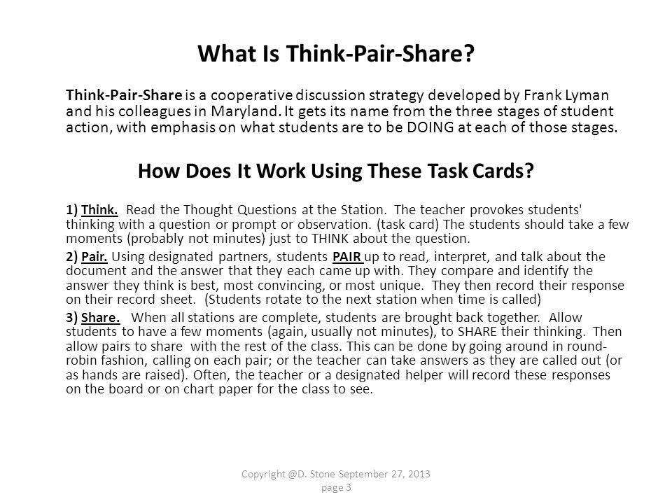 What Is Think-Pair-Share How Does It Work Using These Task Cards