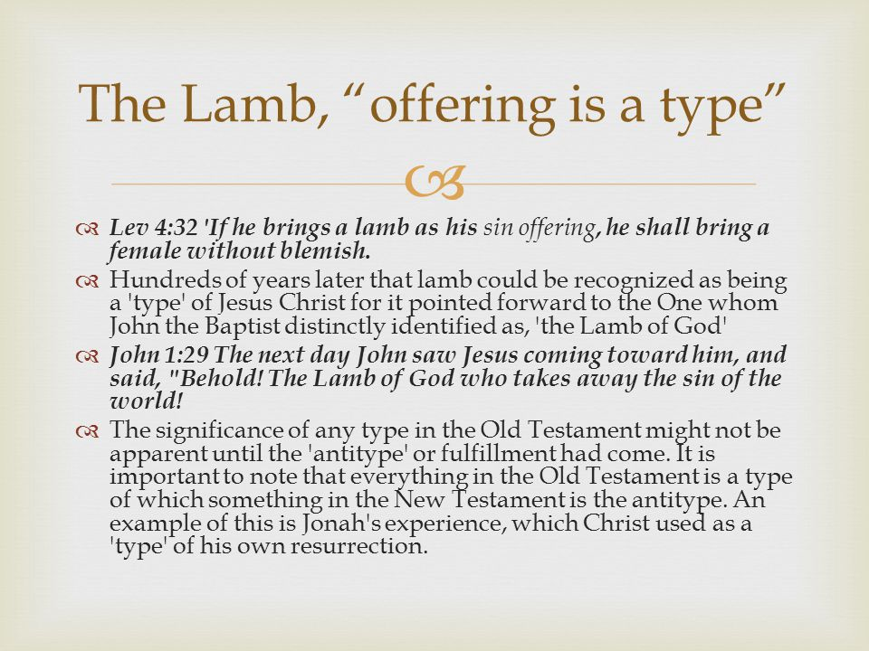 The Lamb, offering is a type