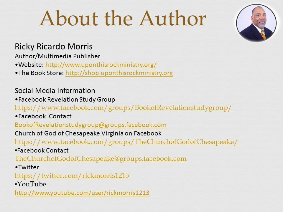 About the Author Ricky Ricardo Morris Social Media Information