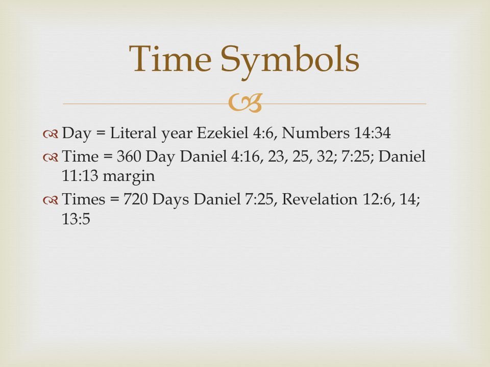 Time Symbols Day = Literal year Ezekiel 4:6, Numbers 14:34