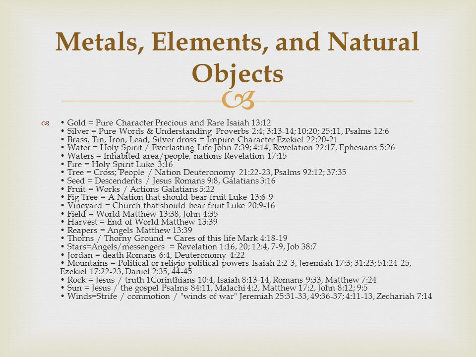 Metals, Elements, and Natural Objects