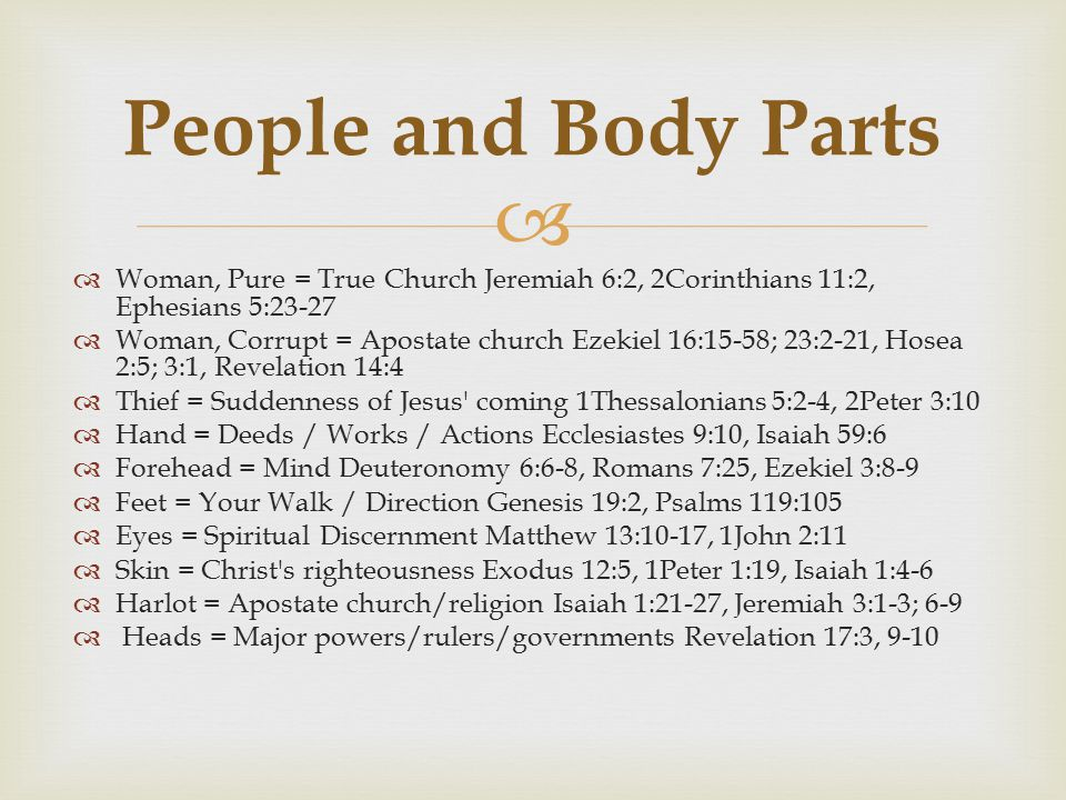 People and Body Parts Woman, Pure = True Church Jeremiah 6:2, 2Corinthians 11:2, Ephesians 5:23-27.