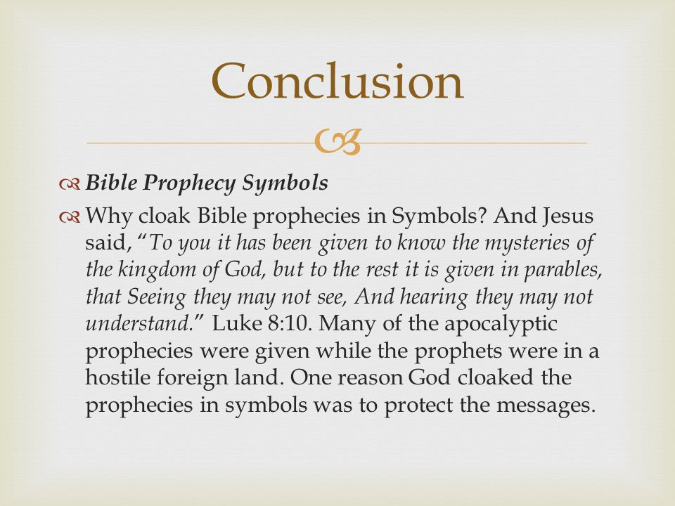 Conclusion Bible Prophecy Symbols