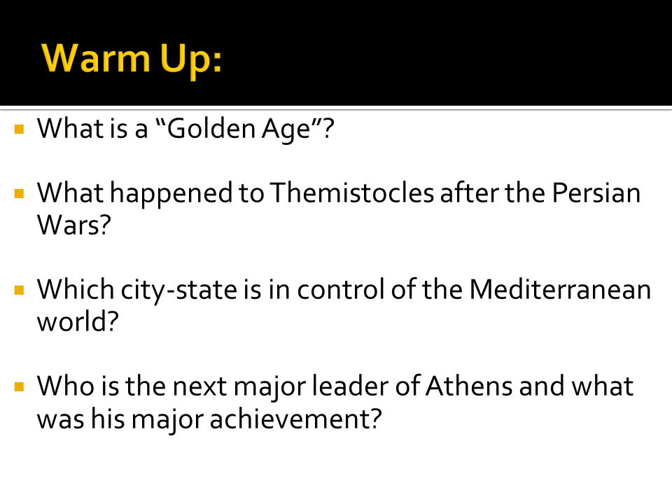 Warm Up: What is a Golden Age