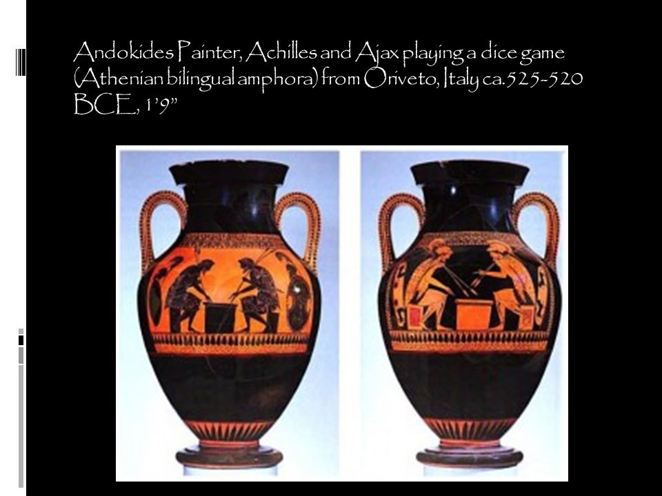 Andokides Painter, Achilles and Ajax playing a dice game (Athenian bilingual amphora) from Oriveto, Italy ca.525-520 BCE, 1'9