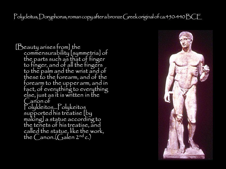 Polycleitus, Doryphorus, roman copy after a bronze Greek original of ca.450-440 BCE
