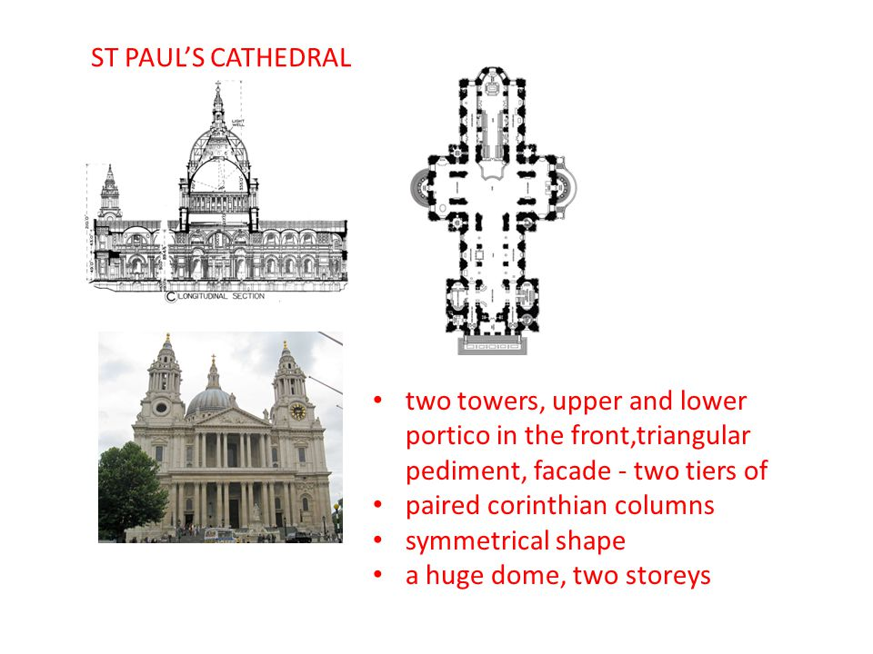 ST PAUL'S CATHEDRAL two towers, upper and lower portico in the front,triangular pediment, facade - two tiers of.