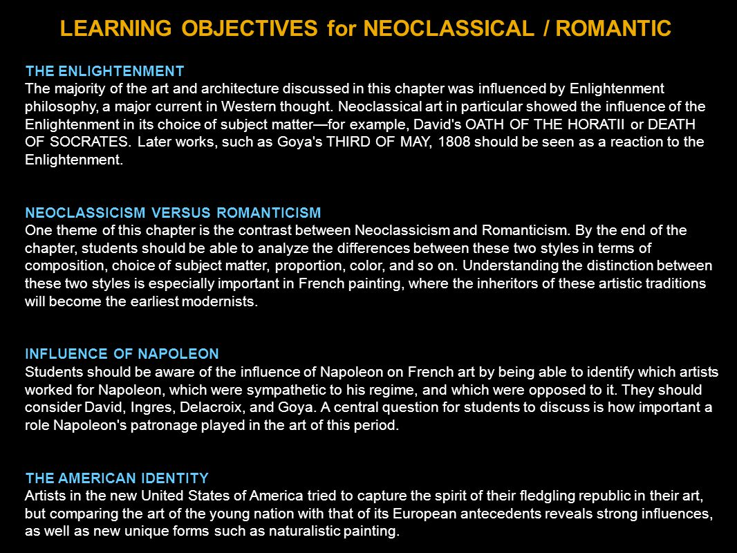LEARNING OBJECTIVES for NEOCLASSICAL / ROMANTIC
