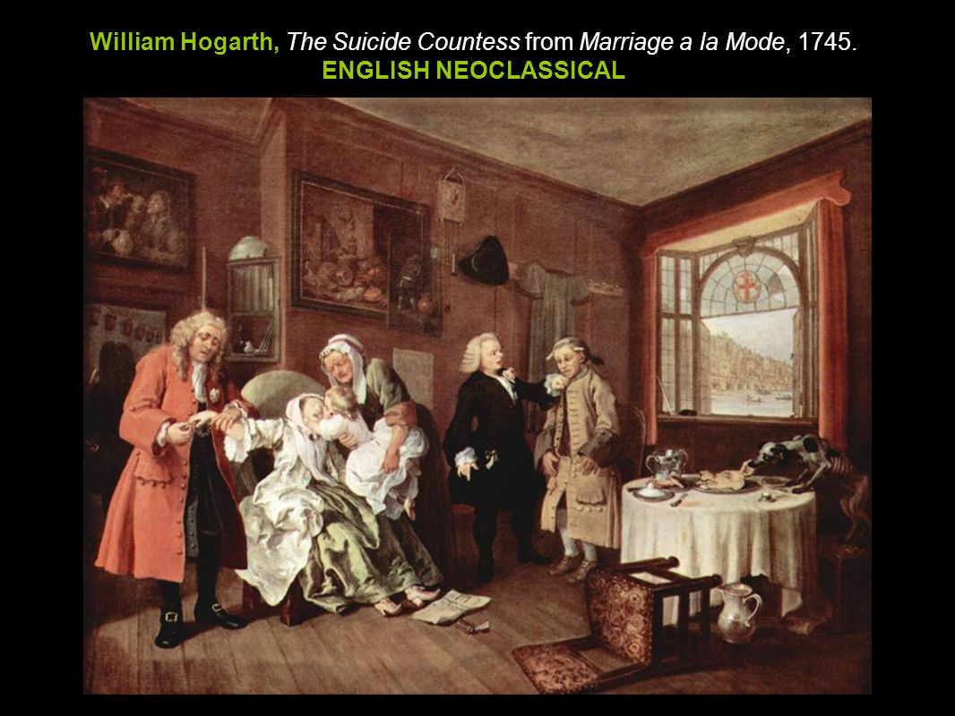 William Hogarth, The Suicide Countess from Marriage a la Mode, 1745.