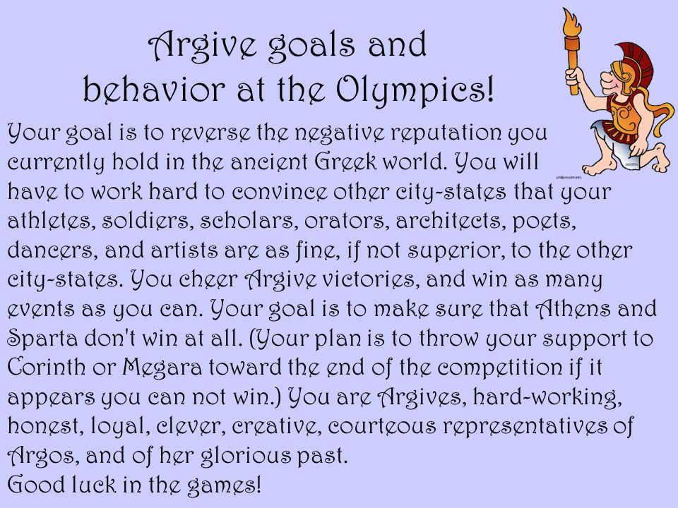 Argive goals and behavior at the Olympics!