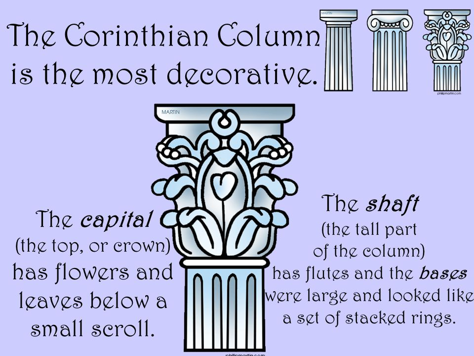 The Corinthian Column is the most decorative.