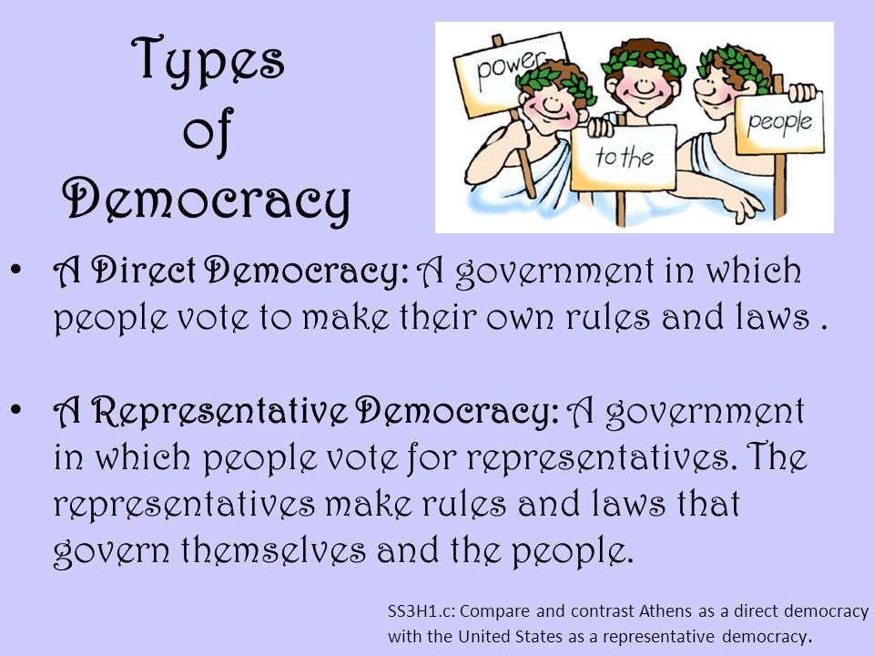 Types of Democracy A Direct Democracy: A government in which people vote to make their own rules and laws .