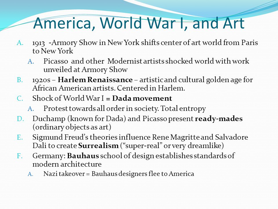 America, World War I, and Art