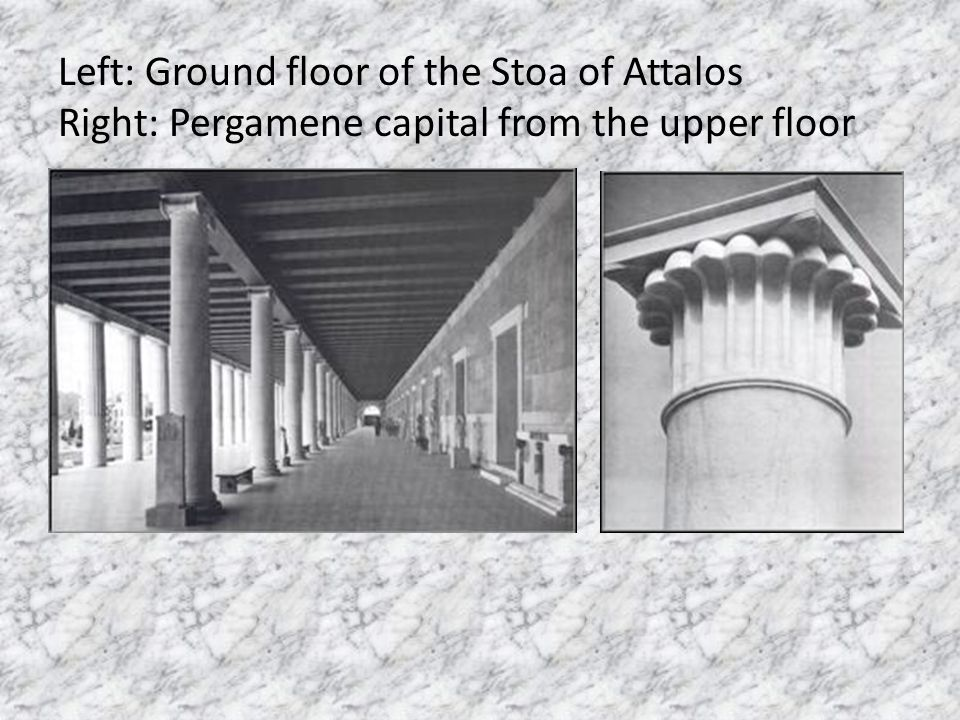 Left: Ground floor of the Stoa of Attalos